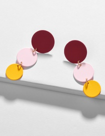 Fashion Red Geometric Disc Painting Contrast Color Earrings
