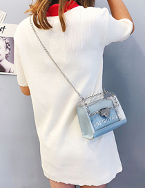 Fashion Blue Crossbody Rivet Shoulder Transparent Chain Bag