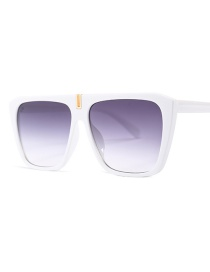 Fashion White Frame Double Gray Square Big Box Sunglasses