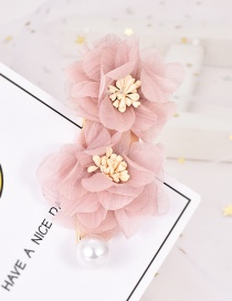 Fashion Pink Alloy Pearl Lace Flower Hair Clip