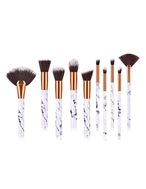 Fashion Marble 10 Pieces Sector Shape Decorated Makeup Brush