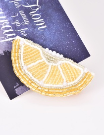 Fashion Yellow Alloy Rice Beads Lemon Pearl Hairpin