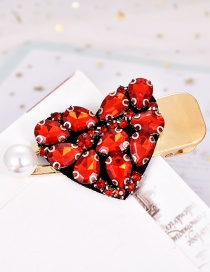 Fashion Red Alloy Diamond Love Pearl Hairpin