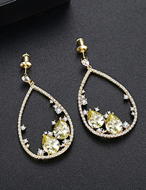 Fashion Gold Micro-inlaid Zircon Oval Earrings