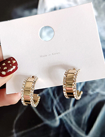 Fashion Gold C-shaped Semi-circular Diamond Stud Earrings