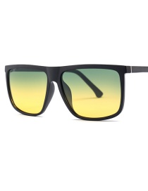 Fashion Green Under Yellow Day And Night Aluminum-magnesium Temple Polarizer Sunglasses