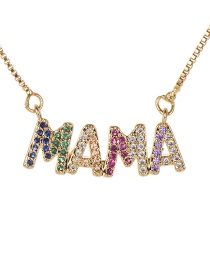 Fashion Gold Copper Inlaid Zircon Letter Mama Necklace