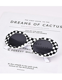 Fashion White Resin Lattice Sunglasses
