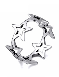 Fashion Silver Star Shape Decorated Ring