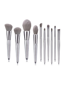 Fashion Silver 10 - Elegant Silver - High-end - Micro-crystal Makeup Brush