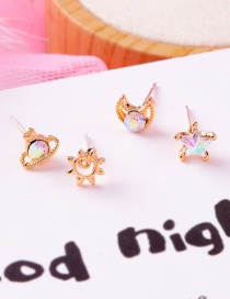Fashion Gold Colorful Gem Stars Moon Sun Planet Earrings Set Of 4