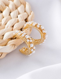 Fashion Gold C-shaped Circle Pearl Stud Earrings
