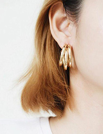 Fashion Gold C-shaped Semicircular Geometric Earrings