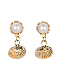 Fashion Gold Pearl Small Shell Earrings