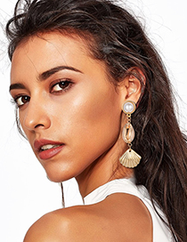 Fashion Gold Pearl Crab Claw Shell Earrings