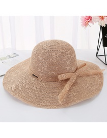 Fashion Khaki Daxie Iron Standard Letter Double Layer Lace Fisherman Hat
