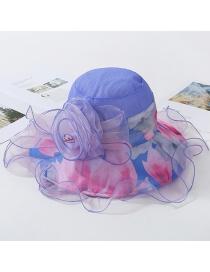 Fashion Blue Double Crepe Net Wavy Side Sun Visor