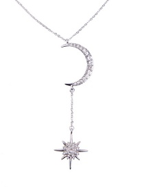Fashion Silver Star: Moon And Diamond Necklace