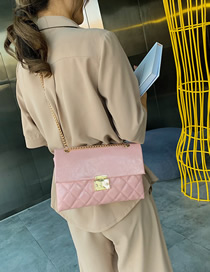 Fashion Pink Crossbody Single Shoulder Rhombic Chain Bag