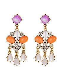 Fashion Purple + Orange Alloy Diamond Drop Resin Stud Earrings