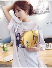 Fashion Gold Funny Embroidered Lacquered Pig Head Shoulder Bag