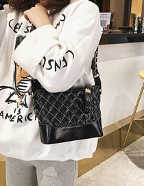 Fashion Black Lingge Single Shoulder Diagonal Shoulder Bag