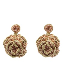 Fashion Gold Rice Beads Flower Earrings