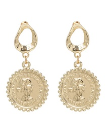 Fashion Gold Alloy Sequin Earrings