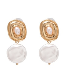Fashion Gold Distressed Alloy Pearl Stud Earrings