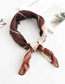 Fashion Coffee Color Love Stripe Color Print Silk Scarf