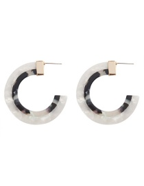 Fashion Black And White Alloy Resin Semi-circular Earrings