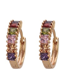 Fashion Colorful Diamond Copper Inlaid Zircon Ring Earrings