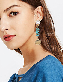 Fashion Gold Alloy Turquoise Shell Earrings