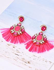 Fashion Red Alloy Resin-studded Geometric Tassel Earrings