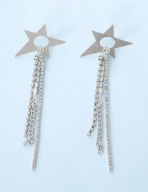 Fashion Silver Star-studded Claw Chain Earrings