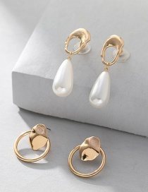 Fashion Gold Alloy Circle Pearl Earrings 2 Piece Set