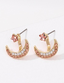 Fashion Gold After Hanging Stars: Moon And Color Diamond Stud Earrings