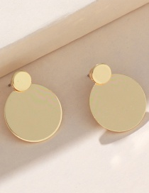 Fashion Gold Round Rear-mounted Earrings