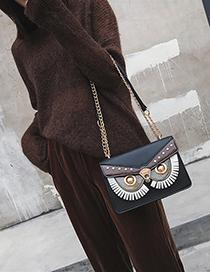 Fashion Black Owl Stitching Rivet Shoulder Diagonal Package