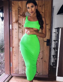 Fashion Fluorescent Green U-neck Vest High Waist Skirt Suit
