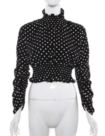 Fashion Black High-necked Long-sleeved Dot T-shirt With Wooden Ears
