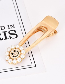 Fashion Gold Alloy Pearl Smiley Hair Clip