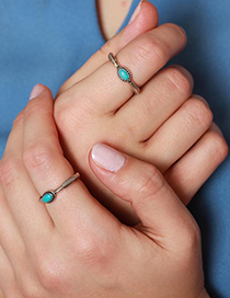 Fashion Silver 925 Silver Inlaid Blue Turquoise Ring