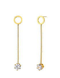Fashion Gold Stainless Steel Round Zircon Earrings