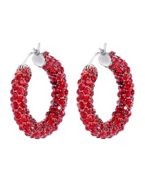 Fashion Red Ring Full Of Diamond Earrings