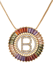Fashion Gold Copper Inlaid Zircon Letter B Necklace