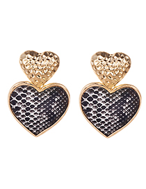 Fashion Black Alloy Animal Print Love Earrings