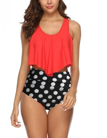 Fashion Red + Pants Pleated High Waist Swimsuit