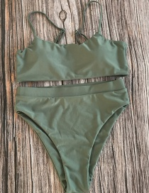 Fashion Earth Green Solid Color High Waist Split Bikini