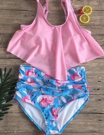 Fashion Light Pink + Flower Pants Split Swimsuit